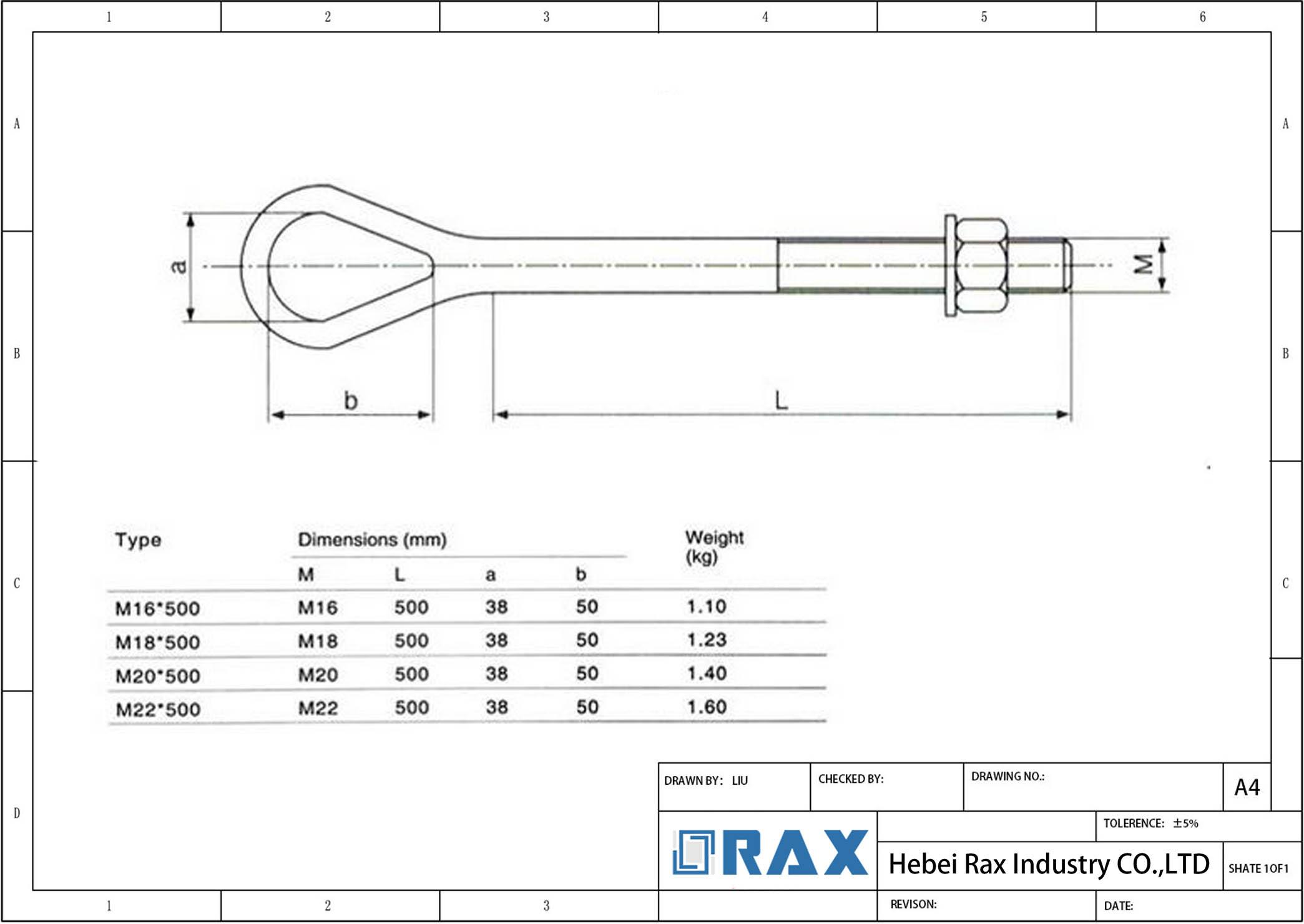 Forged Eye Bolts Oval Eye Bolt Jinyong Pole Line Hardware